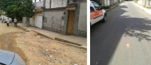 Rua Ouro Branco, Inconfidência, em Queimados. Antes e depois da pavimentação.